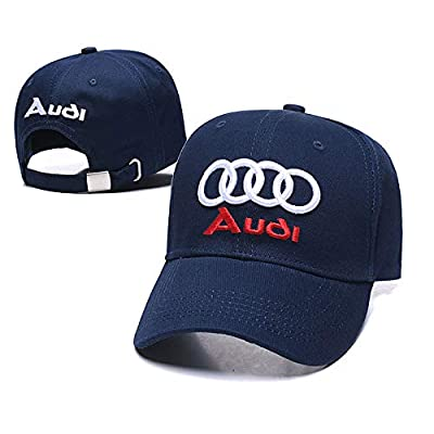Wesport Embroidered Logo Solid Color Adjustable Baseball Caps for Men and Women Travel Cap Racing Motor Hat Fit Audi(Navy Blue): Automotive
