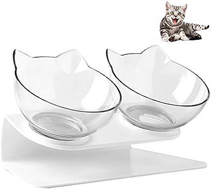 Petacc Cuencos para gatos con doble cuenco para mascotas, plato ...