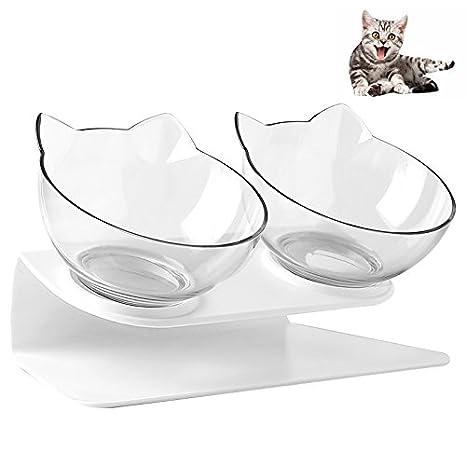 Petacc Cuencos para gatos con doble cuenco para mascotas, plato inclinado con base antideslizante y
