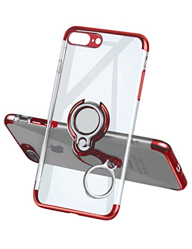 iPhone 7 Plus Case 8 Plus Case,Meetree Phone Cover Clear Slim Ultra Thin Case 360 Rotating Ring Grip Holder Stand Magnetic for Car Mount Shock Absorption Bumper Case for iPhone 7 Plus 8 Plus(Red)