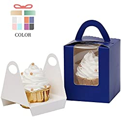 Yotruth Pop-up Cardboard Single Cupcake Boxes Royal Blue 25 Sets with Window Insert and Handle