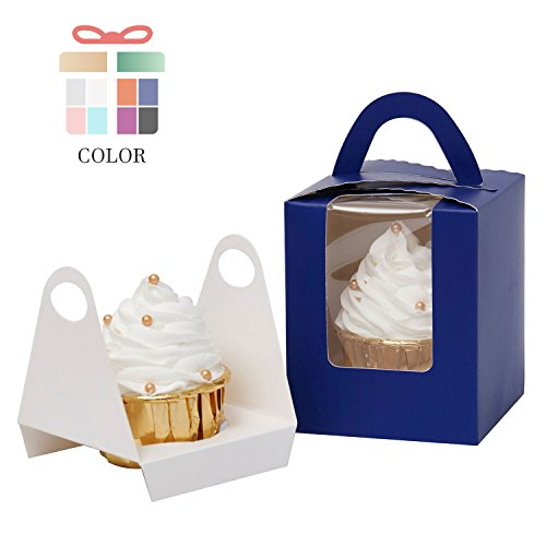 YoTruth Royal Blue 25 Count Cupcake Boxes Single with Window Holder Handle Auto-Assemble (Blue Favor Holder)