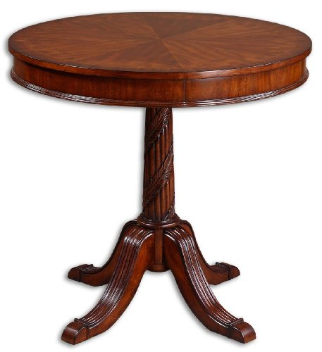 Carved Pedestal Wood End Accent Table ()