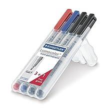 Staedtler Lumocolor Non-Permanent Markers Bonus Pack, 316WP4P (Set of 4-Fine)
