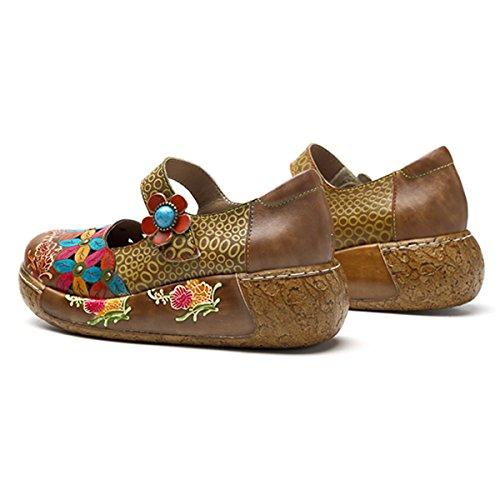 Socofy Dames Mules, Sandales Fourreaux Pantoufles En Cuir Dété Pantoufle Sabots Vintage Espadrilles Fleurs Haut-dessus Chaussures Mocassin Pantoufles Braun_a
