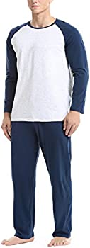 David Archy Mens Cotton Modal Pajama Set (Navy or Brown)