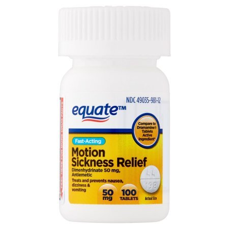 PACK OF 12 - Equate Motion Sickness Relief Tablets, 100 ct by Equate (Image #1)