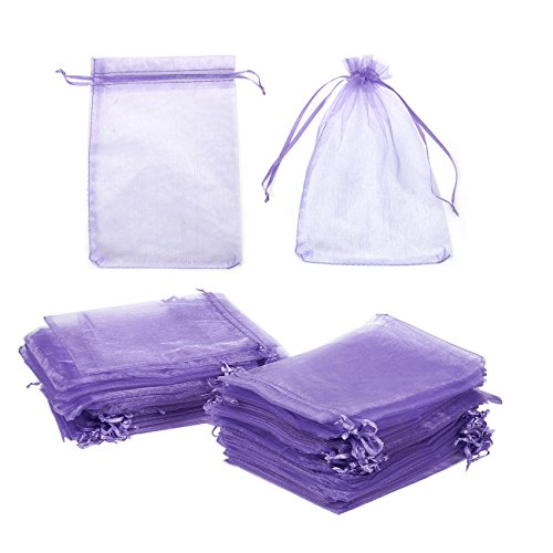 Organza Gift Bags - 100-Piece Satin Drawstring Jewelry Pouch Wedding Gift Bags, Baby Shower Favor Bag - Organza Sheer Mesh Pouch Wrap for Party Gift, Arts Crafts, Sample Packing - Purple, 5 x 7 Inches (Baby Shower Favors Purple)