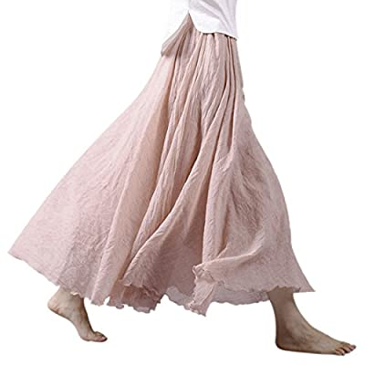 Ezcosplay Women Bohemian Cotton Linen Double Layer Elastic Waist Long Maxi Skirt at Women's Clothing store