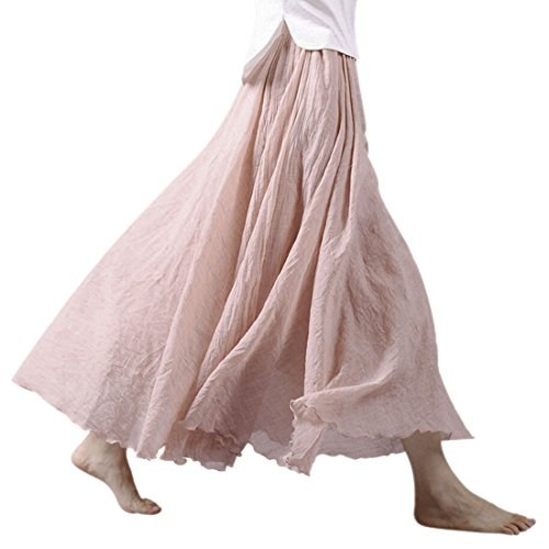 Ezcosplay Women Bohemian Cotton Linen Double Layer Elastic Waist Long Maxi Skirt 95CM 1-pale Rose