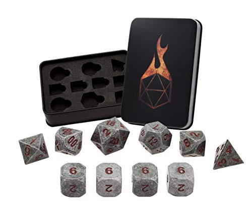 Hand Forged Metal Table - Forged Dice Co. Metal Polyhedral Dice (Set of 10 Polyhedral (Extra D6s) w/Tin, Iron w/Red Numbers 10 Piece Set of 10 Polyhedral (Extra D6s) w/Tin)