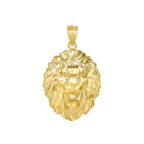 (Bold 10k Yellow Gold Roaring Lion King Head Leo Zodiac Sign Pendant)