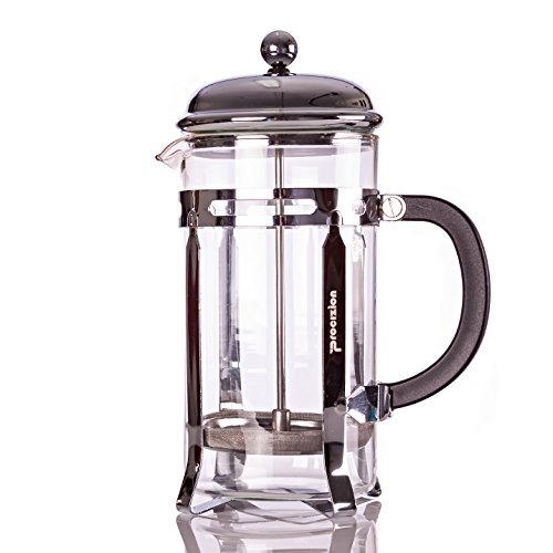 Procizion French Press 8 Cup 4 Mugs Durable 34 Oz Coffee, Espresso and Tea Maker with Triple Filters, Stainless Steel Plunger and Heat Resistant Tempered Glass