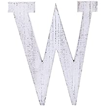 """Adeco Wooden Hanging Wall Letters """"W"""" - White Decorative Wall Letter of Living Room, Baby Name and Bedroom Decor, Whitewash"""