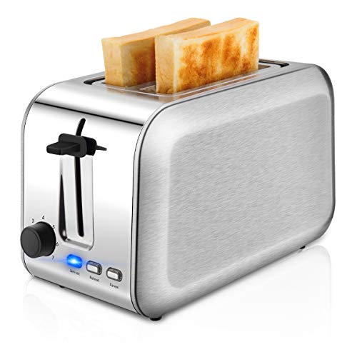CUSINAID Toasters 2 Slice Best Rated Stainless Steel with Extra-Wide Slots, 7 Browning Dials and Removable Crumb Tray-Metallic, Silver