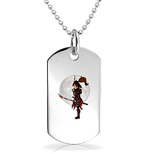 (Lady Samurai Warrior Solemnly Standing in Front of Moon With a Bloody Sword - 3D Color Printed Military Dog Tag, Luggage Tag Pendant Metal Chain Necklace)