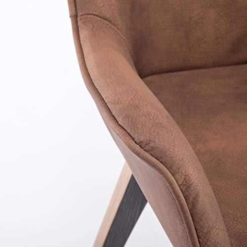 YEEFY Brown Leather Dining Chairs with arms Leather Side Chairs Set of 2 (Brown) by YEEFY (Image #3)