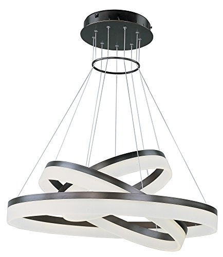 ET2 E22456-11BZ Saturn 3-Tier LED Multi-Light Pendant, Bronze Finish, Matte White Glass, PCB LED Bulb, 18W Max., Dry Safety Rated, 3000K Color Temp., Standard Triac/Lutron or Leviton Dimmable, Glass Shade Material, 240 Rated Lumens ()