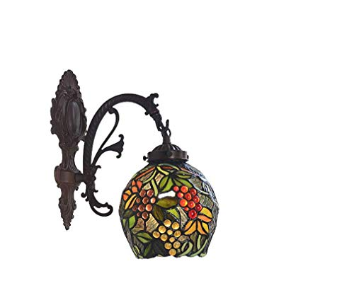 (Creative Tiffany Style Wall Hanging Lamp, European Style Antique Stained Glass Wall Lamp, Creative Grape Sconces, Mirror Headlight, Suitable for Bedchamber, Corridor, BOSS)