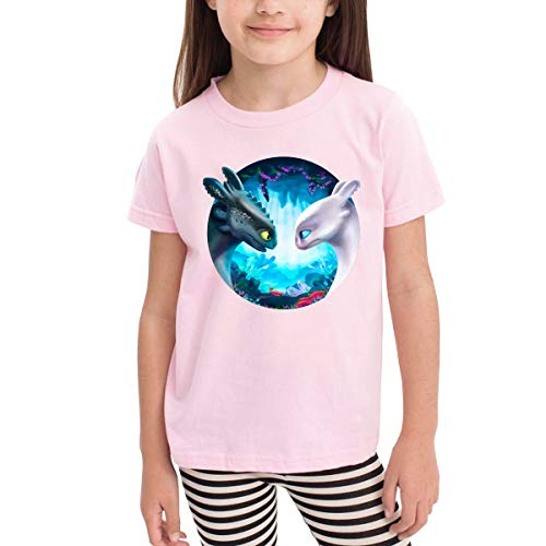 Censu Custom How to Train Your Dragon Toothless and Light Fury Printing Crew Neck Tee T-Shirts for Unisex Boys Girls,Pink 100% Organic Cotton