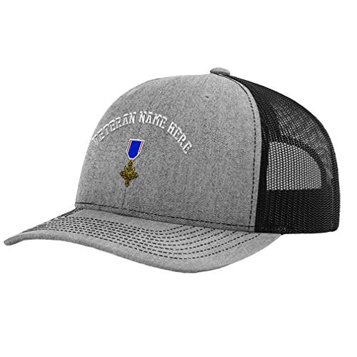 Custom Richardson Trucker Hat Distinguished Service Cross Embroidery Veteran Polyester Baseball Mesh Cap - Heather Gray/Black, Personalized Text Here
