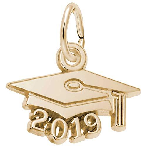 Rembrandt Gold Plated Charms - Rembrandt Graduation Cap 2019 Charm, Gold Plated Silver