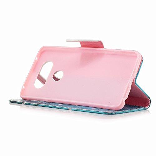 Custodia LG V20 (H910, H918) Cover Case, Ougger Fiorire Portafoglio PU Pelle Magnetico Stand Morbido Silicone Flip Bumper Protettivo Gomma Shell Borsa Custodie con Slot per Schede