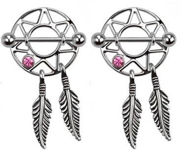 Pierced Owl Dream Catcher Nipple Shields Gem Dangle Barbell Barbells 14g 316L Stainless Steel - Sold as a Pair (Pink)