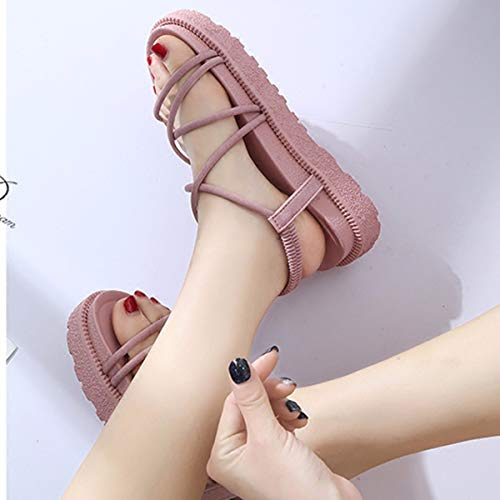 Xia Bas Di Chaussures Ping Sandal paisse 4cm Kphy Girl Rose sept Contract En tudiante Trente Muffin qT4nIw