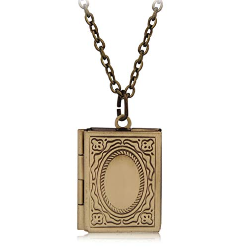 (Gostear Photo Locket Necklace That Holds Pictures Vintage Pendant for Little Girls Kids Baby Mom Bronze)