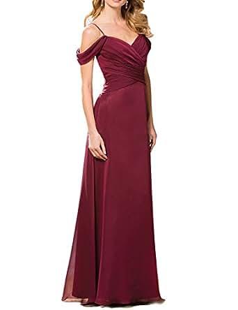 fnina largo madre de novia vestidos de la mujer Cap mangas formal Tamaño 4 burdeos