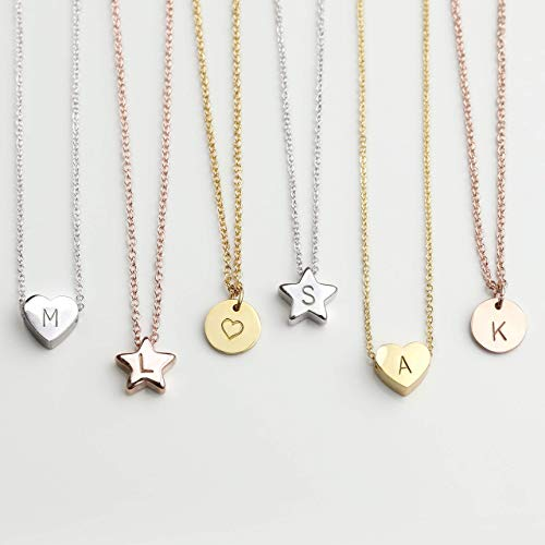 - Mothers Day Gift HEART STAR DISC Necklace with Initial Personalized Necklace Baby Girl Kids Jewelry Holiday Gift Flower Girl Dainty Monogram Charm Gold Your Name Necklace Valentine Day Gift - HTS