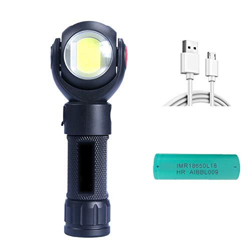 New Work Light, Led Work Flashlight 10W Rechargeable, Handheld Flashlights Super Magnetic Base 360° Rotate and 7 Lighting Modes, Bright Inspection Led Light 800lm For Outdoor, Household and Emergency