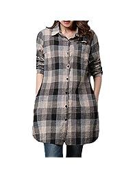 kingf Womens Lattice Cotton Linen Shirt Long Sleeves Loose Tops Blouse