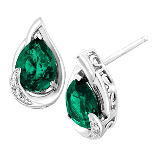 2-ct-Created-Emerald-Stud-Earrings-with-Diamonds-in-Sterling-Silver