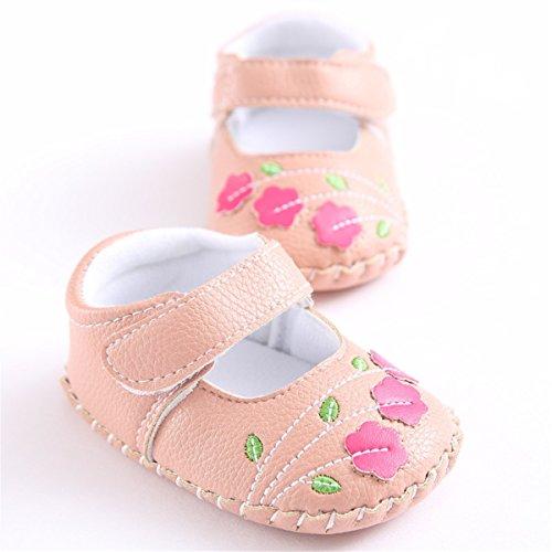 Meckior Infant Baby Girls Sandas Summer Soft Leather No-Slip Princess Shoes (12-18 Months, Pink 1)