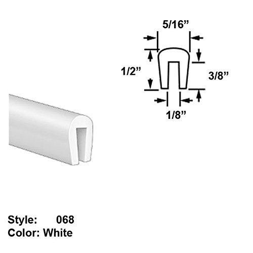 Food-Grade UHMW Plastic U-Channel Push-On Trim, Style 068 - Ht. 1/2'' x Wd. 5/16'' - White - 25 ft long by Gordon Glass Co.