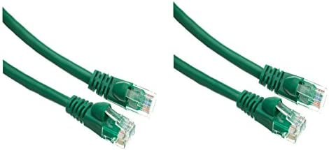 CNE496691 2 Pack Cat5e Ethernet Patch Cable Snagless//Molded Boot 10 Feet Green
