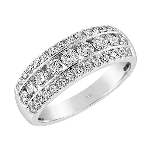 Brilliant Expressions 14K White Gold 1 Cttw Colorless Lab Created Conflict Free Diamond Triple Row Channel Set Anniversary Band (E-F Color, VS2-SI1 Clarity), Size 8 (Anniversary Row Ring Diamond)