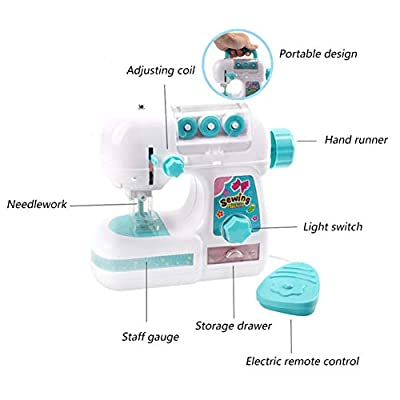 Wenasi Mini Sewing Machine Toy Set Handheld Sewing Machine Household Repair Tool Kit Educational Pretend Toy for Kids: Toys & Games