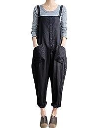 Women's Baggy Wide Leg Loose Overall Linen Harem Pants