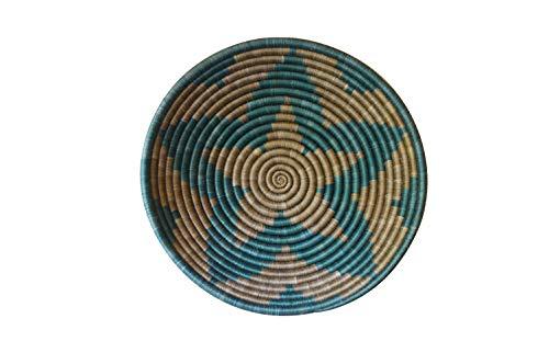 African Gift Shop| Rwanda Basket Bowl | Designer Green Color Fruit Basket Bowl | Size 12inches | Handcrafted Weaved Basket Bowl| Woven Bowl|Sisal & Sweetgrass Basket | Round Basket (Glaucous) ()