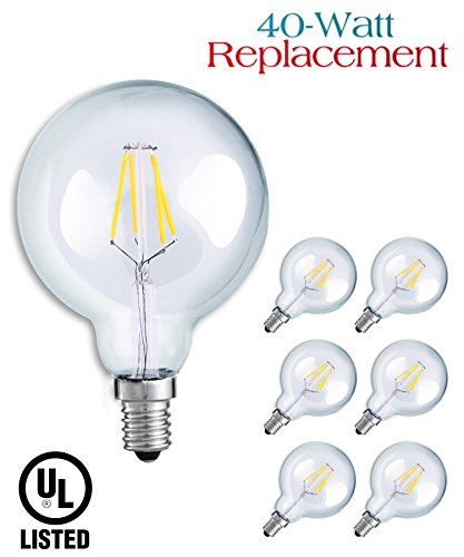 Luxrite LR21239 (6-Pack) 4W G16.5 Decorative LED Filament Globe Light Bulb, Equivalent to 40W Incandescent G16.5 Light Bulb, Warm White 2700K, 350 Lumens, E12 Candelabra Base, - Cfl Globe Watt