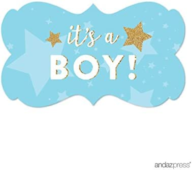 30 Boy Baby Shower Twinkle Twinkle Little Star Stickers labels favors party blue