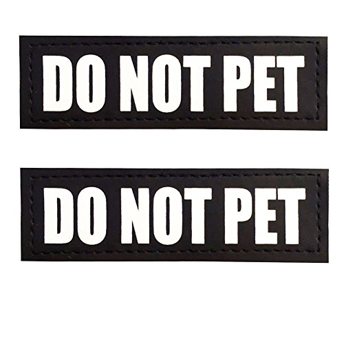 Not Pet Harness - FAYOGOO Reflective Do Not Pet Patches with Hook Backing for Service Dog Vests /Harnesses. L, 6