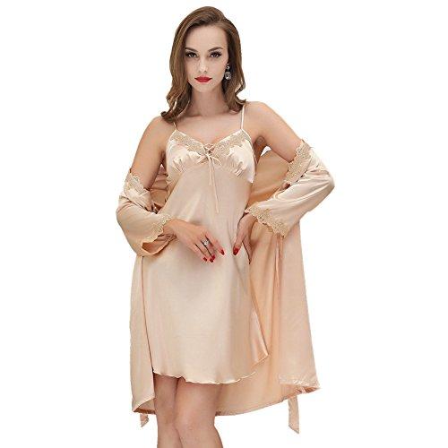Sunbaby Women Sexy Silk Satin Robe Camisole Pajama Dress Two Piece Suit Sleepwear (M, Champagne)