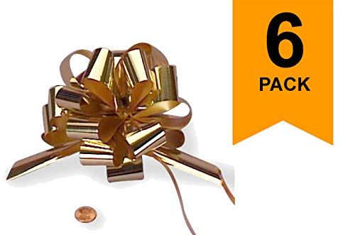 Large Metallic Gold Gift Wrap Pull Bows - 5