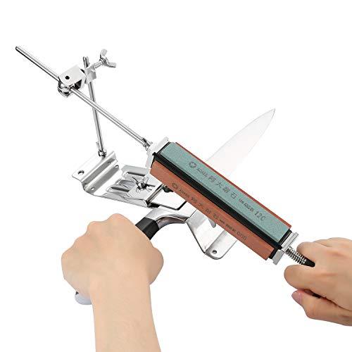 Tikitaka Aiguiseur Couteau Professionnel Kits d'affûtage de Cuisine à Angle Fixe - Système 4 Pierres à Aiguiser