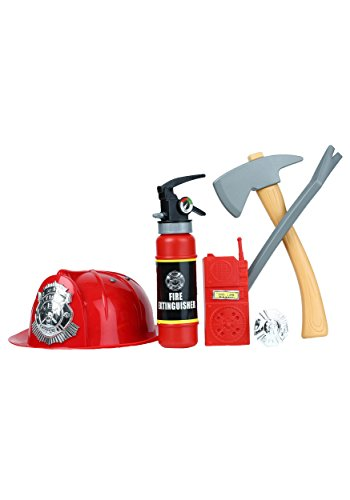 Fake Fire Extinguisher Halloween (6 Piece Fireman Fire Fighter Helmet Axe Toys Play Set Costume Accessory)