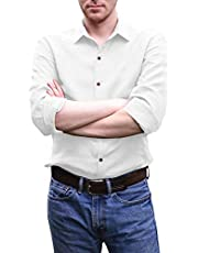 elselect Men's Linen Button Down Shirts Long Sleeve Casual Spread Collar Plain Work Business Performance Dress Shirt